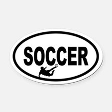 Soccer Player Oval Car Magnet