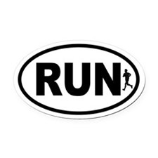 Running Runner Oval Car Magnet