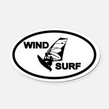 Windsurfing Oval Car Magnet