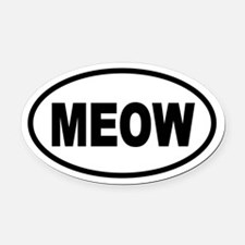 Cat MEOW Oval Car Magnet