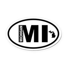 Michigan Map Oval Car Magnet