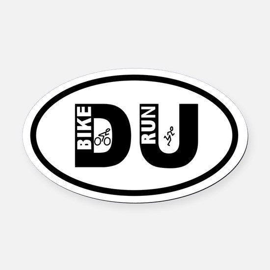 Duathlon Bike Run Oval Car Magnet