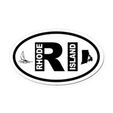 Rhode Island Sailboat and Map Oval Car Magnet