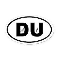 Duathlon Biker Runner Oval Car Magnet