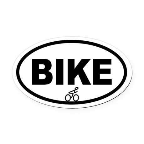 Cycling Biker Oval Car Magnet
