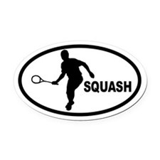 Squash Player Oval Car Magnet
