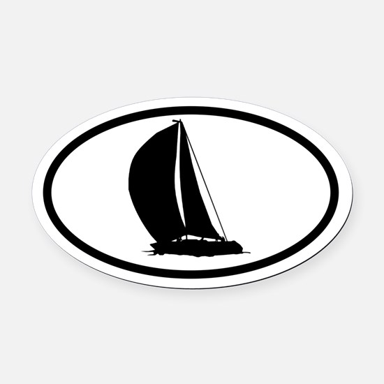 Sailboat Oval Car Magnet