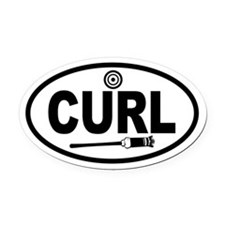 Curling Broom and Target Oval Car Magnet