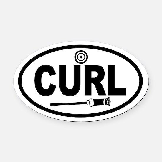 Curling Broom and Target Oval Car Magnet