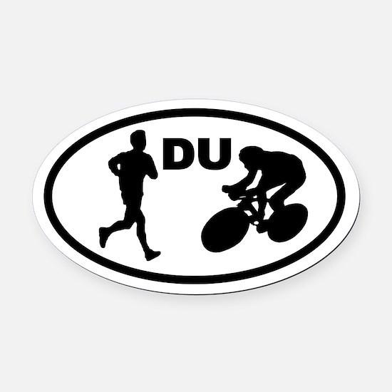 Duathlon Duathletes Oval Car Magnet