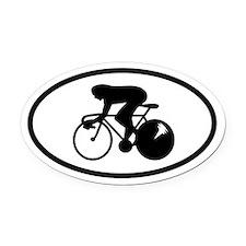Bike Racer Oval Car Magnet