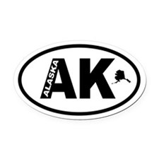 Alaska-plus with map Oval Car Magnet