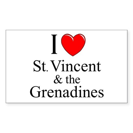 """I Love St. Vincent & The Grenadines"" Sticker (Rec"