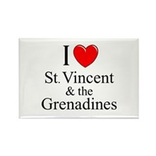 """I Love St. Vincent & The Grenadines"" Rectangle Ma"