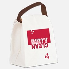 dirtycleansq_red_wh Canvas Lunch Bag