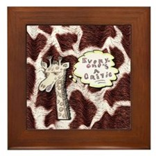 Everyone's a critic giraffe Framed Tile