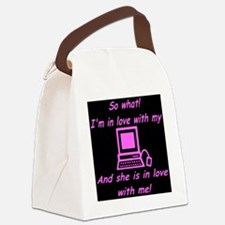pc_love_pink_black Canvas Lunch Bag