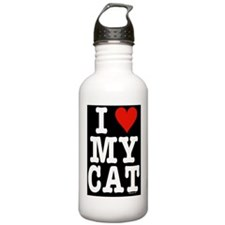 HeartCatLgFrPrint14x10 Water Bottle