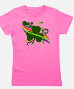 rainbow shamrock copy Girl's Tee