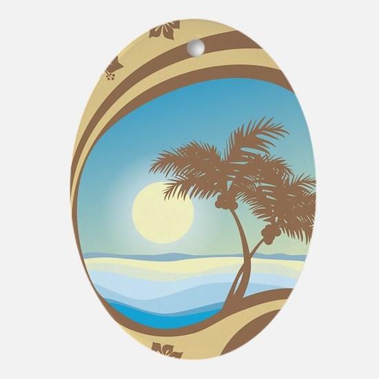 BEACH Oval Ornament