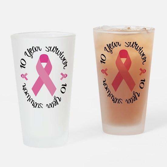 10 Year Survivor Drinking Glass