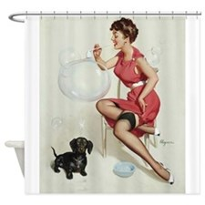 Pin Up Girl, Dog,Bubbles, Vintage Poster Shower Cu