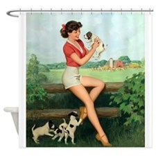 Pin Up Girl, Dogs, Vintage Poster Shower Curtain