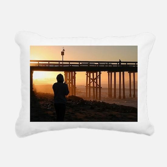Photographer At Sunset Rectangular Canvas Pillow