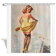 Pin Up Girl, Splash, Vintage Poster Shower Curtain