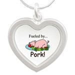Fueled by Pork Silver Heart Necklace