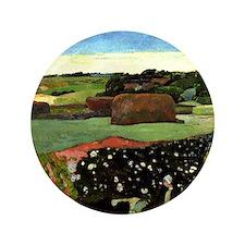 "Gauguin: Haystacks in Brittany, Paul G 3.5"" Button"