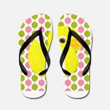 Rubber Duck on Pink and Green Flip Flops