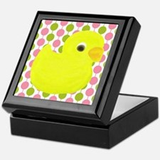 Rubber Duck on Pink and Green Keepsake Box