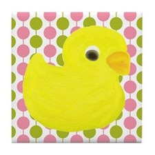 Rubber Duck on Pink and Green Tile Coaster