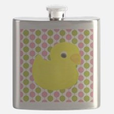 Rubber Duck on Pink and Green Flask