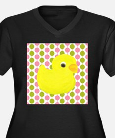 Rubber Duck on Pink and Green Plus Size T-Shirt