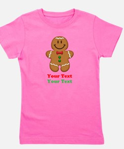 Personalize Little Gingerbread Man Girl's Tee