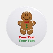 Personalize Little Gingerbread Man Ornament (Round