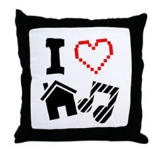 I Love House Music Throw Pillow