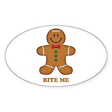 Gingerbread Man Bite Me Sticker (Oval)