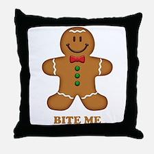 Gingerbread Man Bite Me Throw Pillow