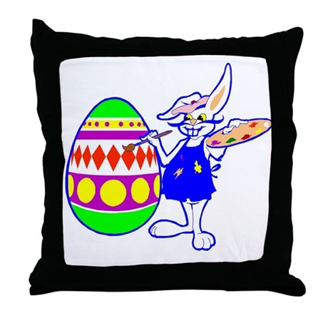Easter Bunny Painting Throw Pillow