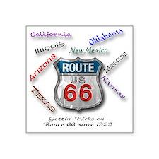 """Route 66 Button Square Sticker 3"""" x 3"""""""