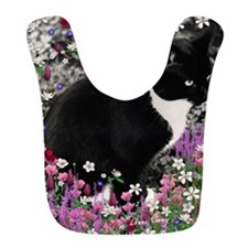Freckles Tux Cat Flowers II Bib