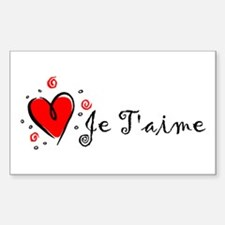 """""""I Love You"""" [French] Rectangle Decal"""