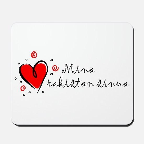 """I Love You"" [Finnish] Mousepad"