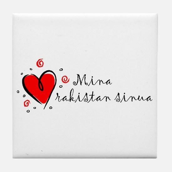 """""""I Love You"""" [Finnish] Tile Coaster"""