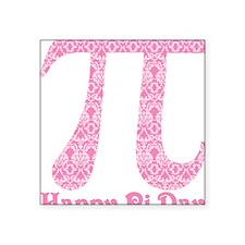 "Soft Pink Damask Pi Day Square Sticker 3"" x 3"""