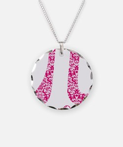 Fuscia Damask Pi Day Necklace Circle Charm