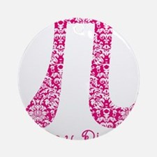 Fuscia Damask Pi Day Round Ornament